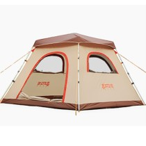3 4 5 Person Family Tent 1 Room Camping Outdoor Park Car Trip 4 Seasons Cabin Yellow 210D Oxford 2 Doors 8.2*8.2*5.4 ft