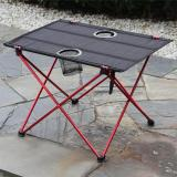 Portable Lightweight Aluminium Folding Camping Table With 2 Cup Holders For Picnic, 22*17*14.6 inch