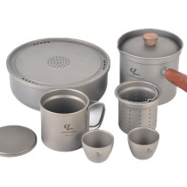 Camping Titanium Tea Set for Outdoor Camping Hiking Backpacking