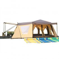 Tentsme Family Instant Tent 8 9 10 Person Waterproof Easy Setup 3 4 Seasons 4 Doors 4 Windows 3 Rooms Yellow Cabin Oxford Cloth 141'x95'x71'