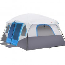 Family Tent 2 Rooms Large Space 4 Seasons 7 8 9 10 Person Blue Red Camping 210D Oxford 14.1*10*6.7 ft
