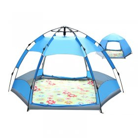 Tentsme Instant Tent 3 4 5 Person Family Camping Hexagon With Screen Green Blue Orange 2 Doors 3 Season Summer Sunny Windy Oxford Cloth 95'x95'x57'