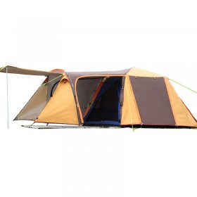 Family Tent 1 Room 1 Lobby 3 4 Person Camping Double Layer Waterproof Outdoor 4 Seasons Yellow Oxford 14.2*6.9*5.2 ft