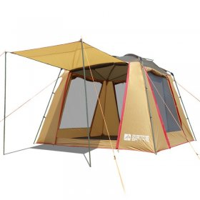 Family Tent 1 Room 5 6 7 Person Camping Outdoor Park Car Trip 4 Seasons Cabin Yellow 210D Oxford 2 Doors 9.8*9.8*6.9 ft