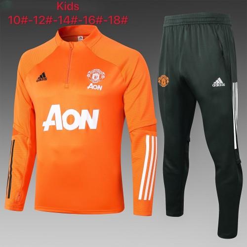 Manchester United Kids Training Jersey Suit 20/21 Orange
