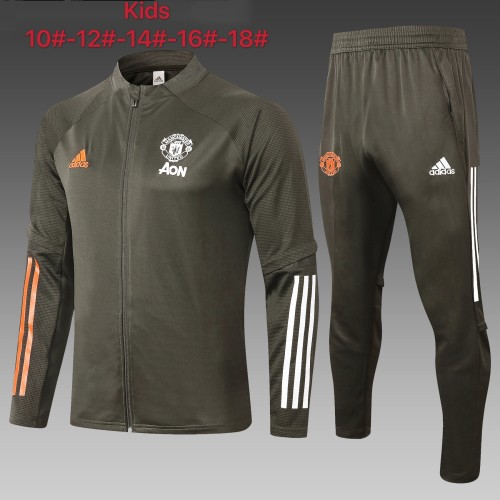 Manchester United Kids Training Jacket Suit 20/21 Green