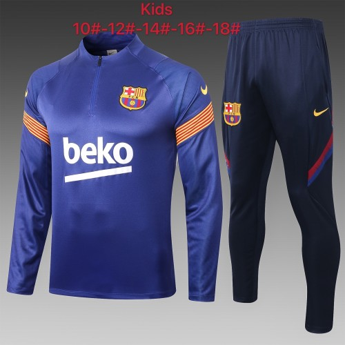 Barcelona Kids Training Jersey Suit 20/21 Blue