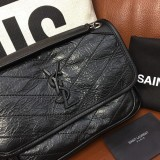YSL Niki Vintage Leather Shoulder Bag HandBag Black