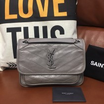 YSL Niki Vintage Leather Shoulder Bag HandBag Gray