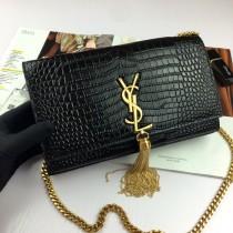 YSL Crocodile Leather Tassel Kate Clutch Bag Wallet Purse Medium 354119 Black