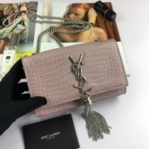 Small YSL Crocodile Leather Tassel Kate Clutch Bag Wallet Purse 354120 Nude Pink