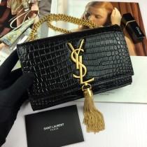 Small YSL Crocodile Leather Tassel Kate Clutch Bag Wallet Purse 354120 Black