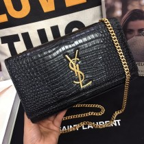 YSL Crocodile leather Medium Kate Clutch Bag Wallet Purse 354119