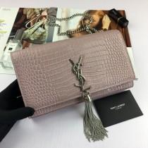 YSL Crocodile Leather Tassel Kate Clutch Bag Wallet Purse Medium 354119 Nude