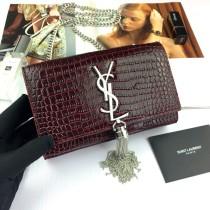 Small YSL Crocodile Leather Tassel Kate Clutch Bag Wallet Purse 354120 Maroon