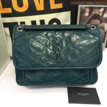 YSL Saint Laurent Midium Niki Vintage Leather Shoulder Bag HandBag Green