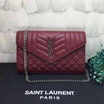 YSL Saint Laurent Flap Handbag Bags Shoulder Bag 437473 Maroon