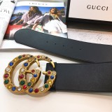 Gucciss Leather belt with crystal Double G buckle W7.0 CM