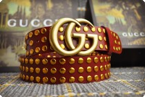 Gucciss Studded leather belt with Double G buckle W4.0 CM