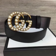 Gucciss Leather Belt With Pearl Double G Buckle