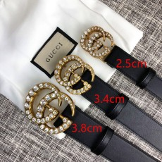 Gucciss Leather Belt With Crystal Double G Buckle Women Belts