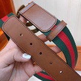 Gucciss Sylvie Web Belt With Double G Buckle W4.0CM Brown