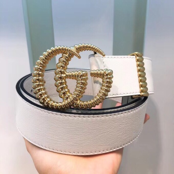 Gucciss Leather Belt With Torchon Double G Buckle White W3.8cm