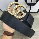 W7.0 Cm Wide Leather Belt With Pearl Double G Women Belts