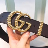 Gucciss Leather Belt With Torchon Double G Buckle Black W3.8 CM