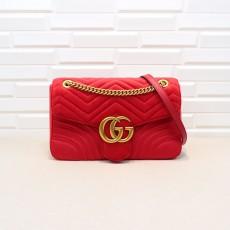 Red Velvet GG Marmont Medium Matelassé Shoulder Bag 443496