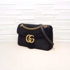 Black Velvet GG Marmont Medium Matelassé Shoulder Bag 443496