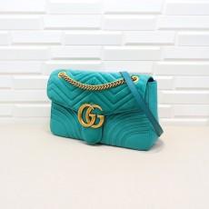 Light Blue Velvet GG Marmont Medium Matelassé Shoulder Bag 443496