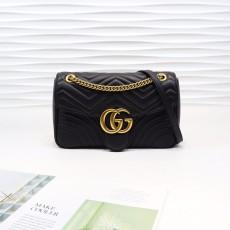 Black Leather GG Marmont Medium Matelassé Shoulder Bag 443496
