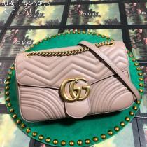 Nude Leather GG Marmont Medium Matelassé Shoulder Bag 443496