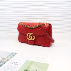 Red Leather GG Marmont Medium Matelassé Shoulder Bag 443496