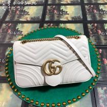 White Leather GG Marmont Medium Matelassé Shoulder Bag 443496