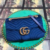 Navy Velvet GG Marmont Medium Matelassé Shoulder Bag 443496