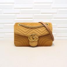 Brown Velvet GG Marmont Medium Matelassé Shoulder Bag 443496