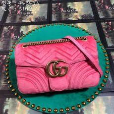 Pink Velvet GG Marmont Medium Matelassé Shoulder Bag 443496