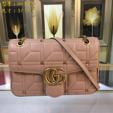 Stud Nude Leather GG Marmont Medium Matelassé Shoulder Bag 443496