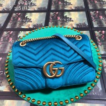 Blue Velvet GG Marmont Medium Matelassé Shoulder Bag 443496