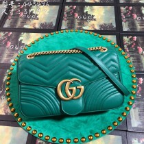 Green Leather GG Marmont Medium Matelassé Shoulder Bag 443496