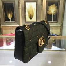 Stud Black Leather GG Marmont Medium Matelassé Shoulder Bag 443496