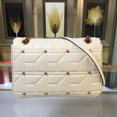 Stud White Leather GG Marmont Medium Matelassé Shoulder Bag 443496