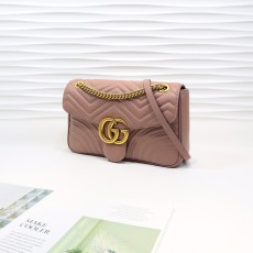 Nude Pink Leather Gg Marmont Medium Matelassé Shoulder Bag 443496