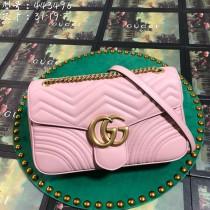 Pink Leather GG Marmont Medium Matelassé Shoulder Bag 443496