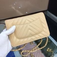 Chanelss Lambskin leather Woc Shoulder Bag 33814 Beige & Gold