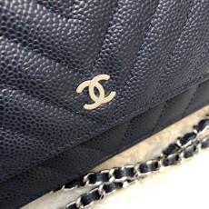 Chanelss Caviar leather Woc Shoulder Bag 33814 Blue & Silver