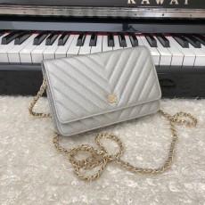 Chanelss Caviar leather Woc Shoulder Bag 33814 Silver & Gold