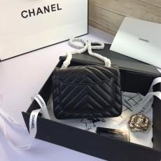 Chanelss Lambskin leather Mini Flap Shoulder Bag 1115 Black Gold